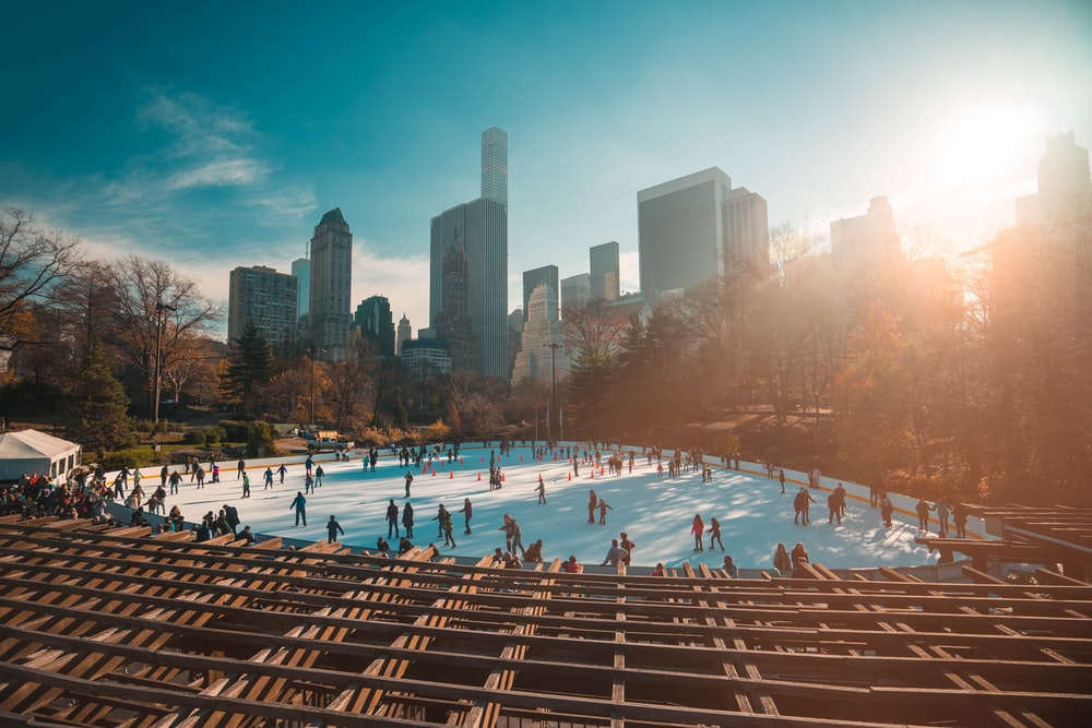 people ice skating in the park at daytime