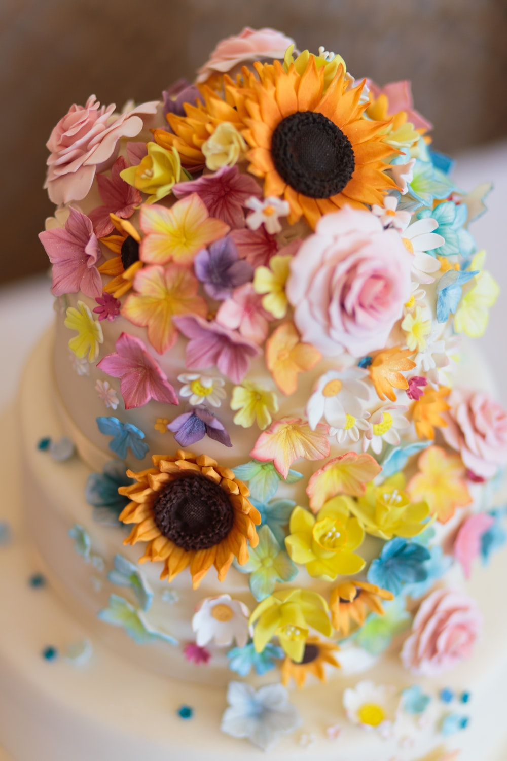 Pleasant 3 Layer Cake With Flowers Accent Photo Free Cake Image On Unsplash Funny Birthday Cards Online Barepcheapnameinfo