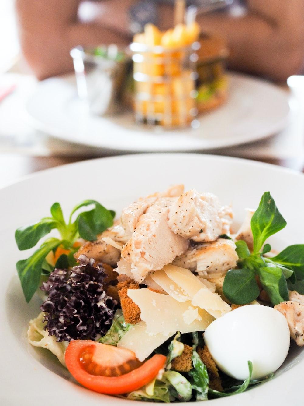 chicken salad served on white ceramic plate