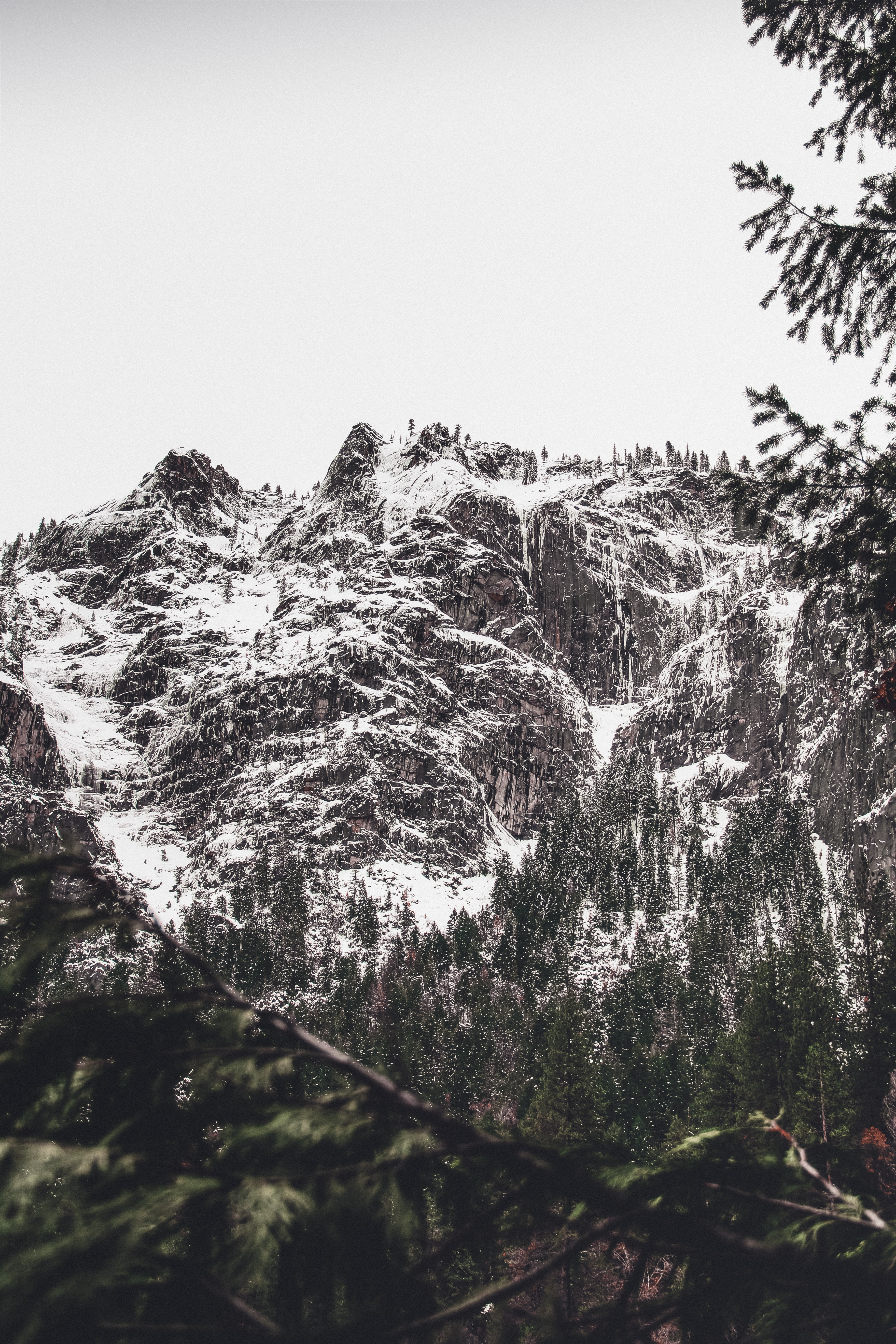 mountain covered with snow during daytime
