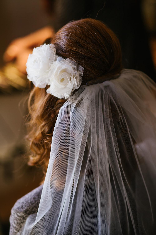 woman wearing white veil