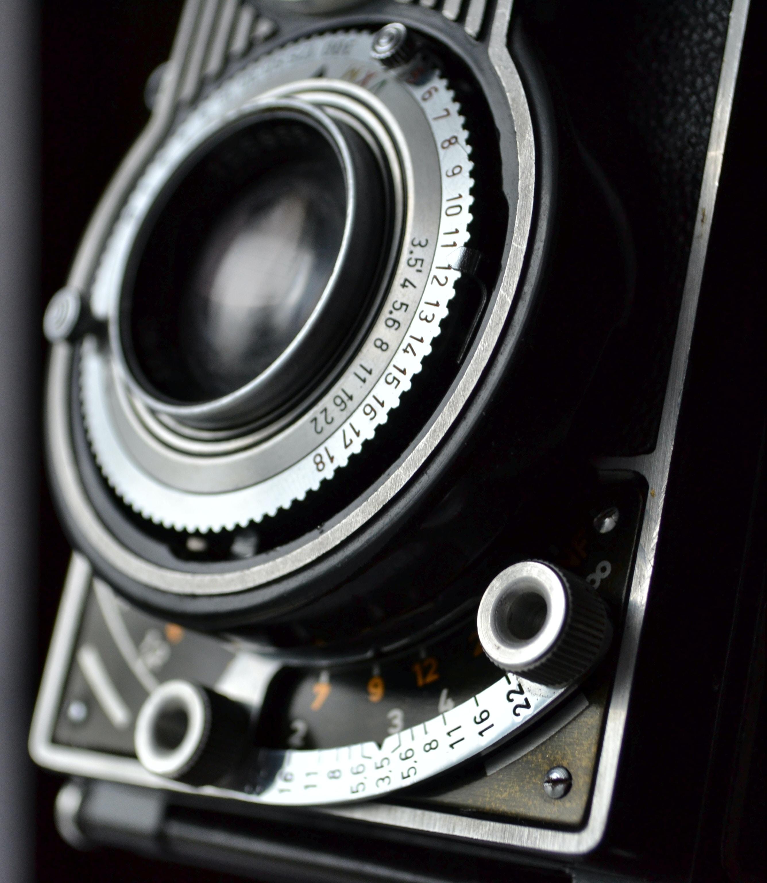 close view of black and gray film camera