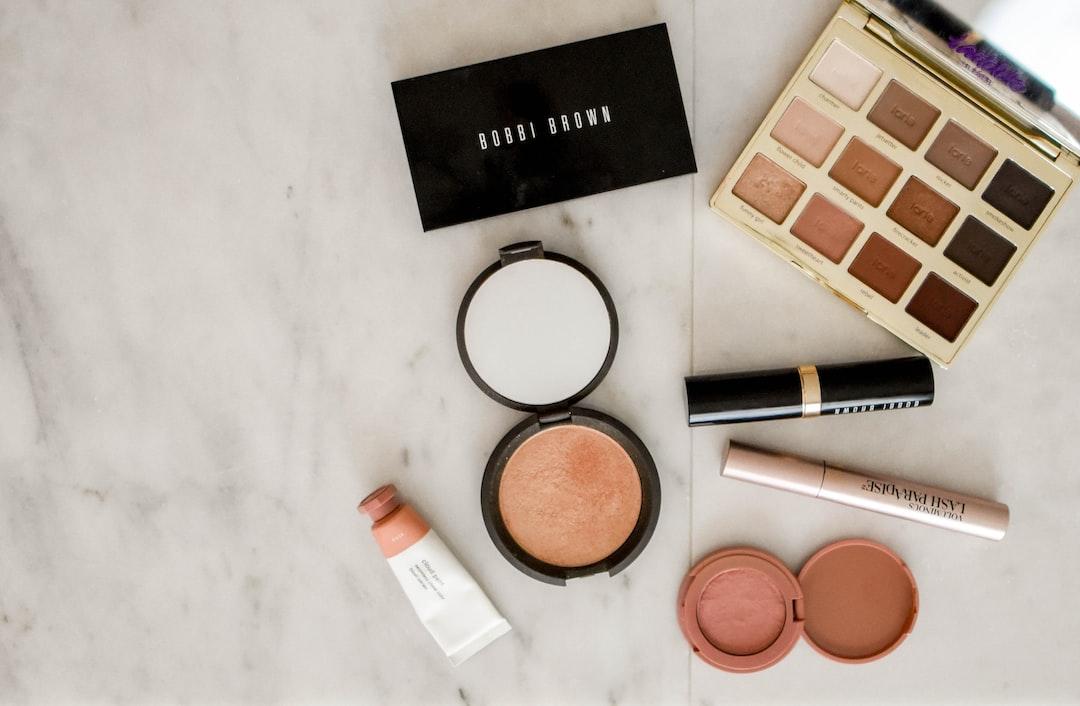 Makeup arrayed on a countertop