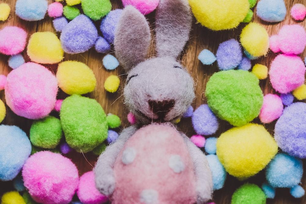 gray rabbit plus toy