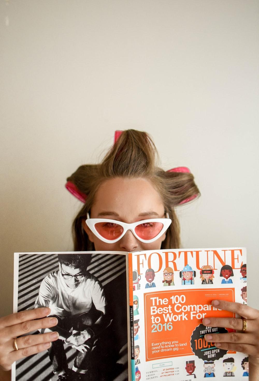 woman holding Fortune magazine