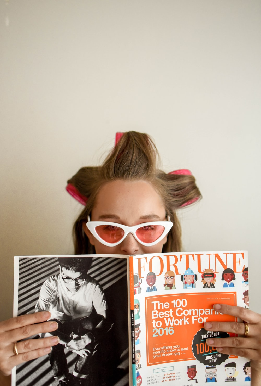 woman holding Fortune magazine