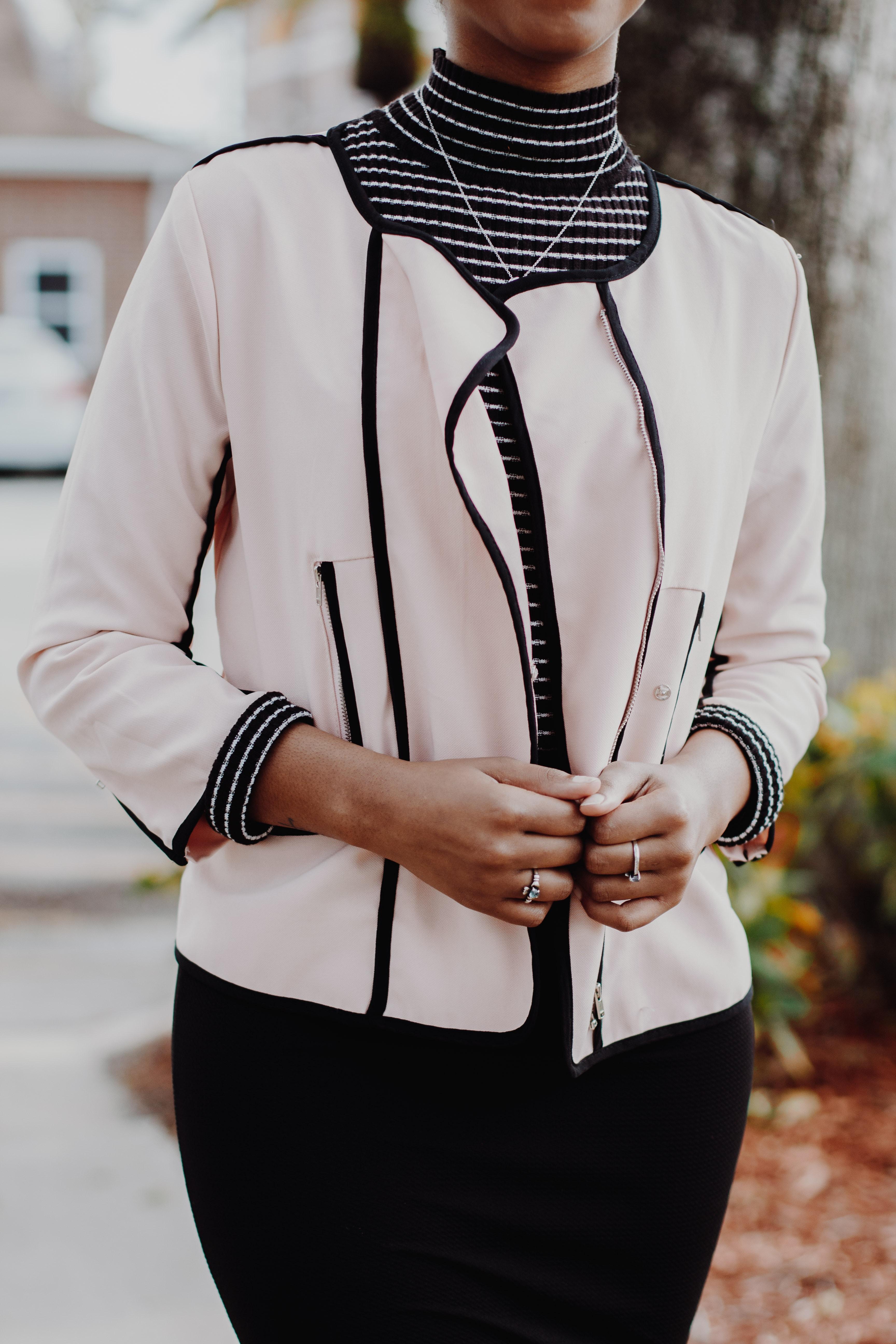 women's white and black blazer