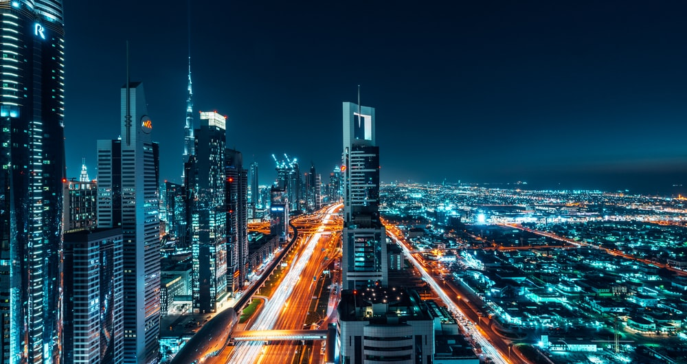 aerial photography of cityscape at night time