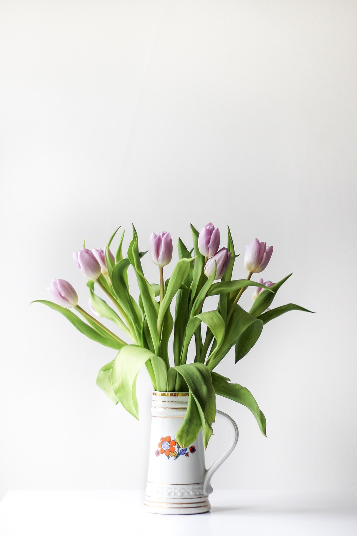 selective focus photography of purple tulip flower arrangement