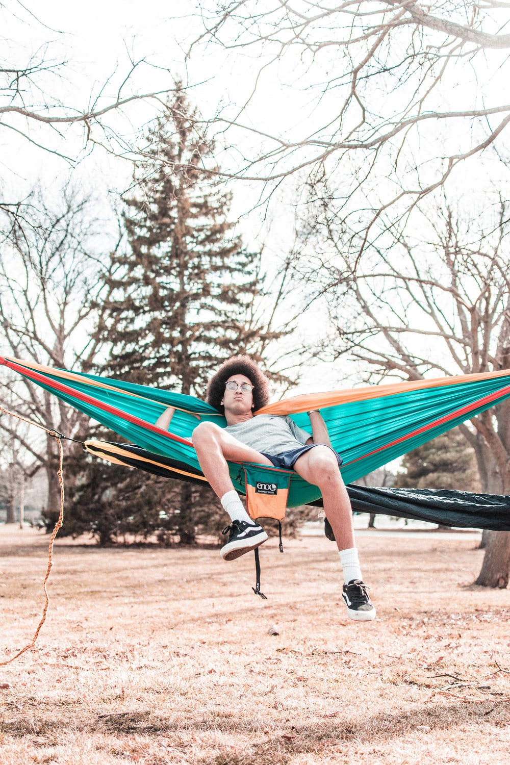 man sitting on teal hammock with withered trees on corner