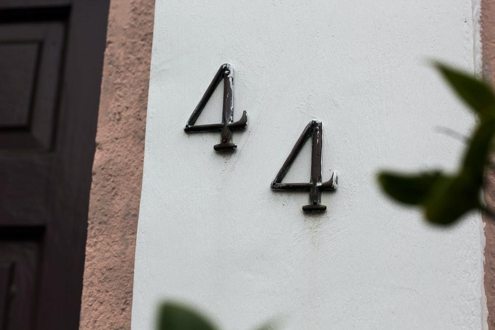 44 emblem on white wall