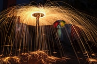 steel wool photography of woman holding umbrella