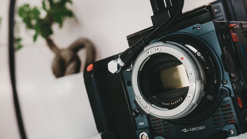 black SLR camera in shallow focus