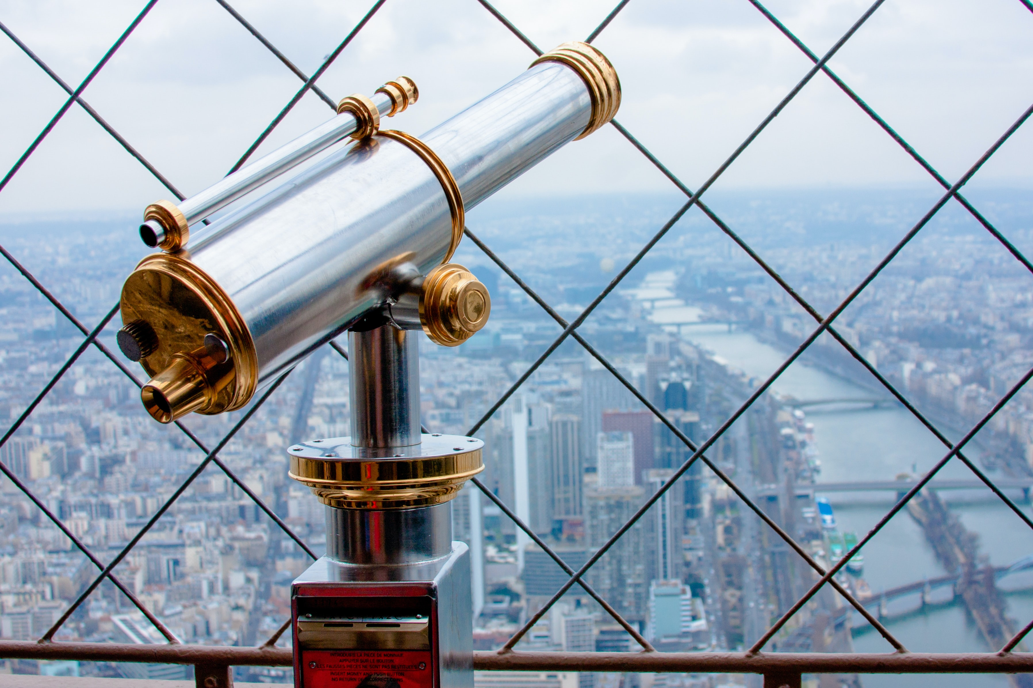 gray and brass-colored tower telescope