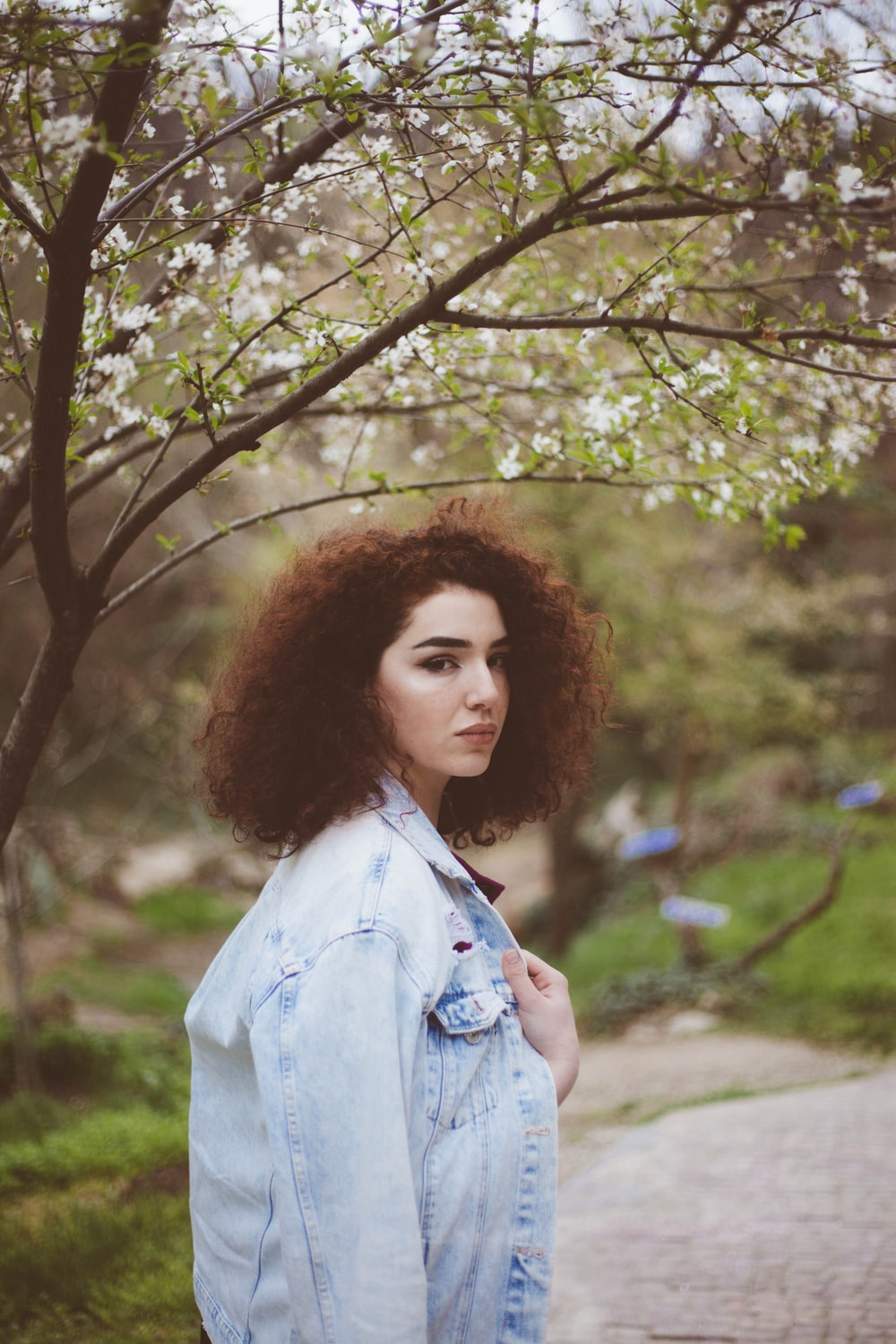 woman wearing gray and blue acid wash denim jacket under tree branches