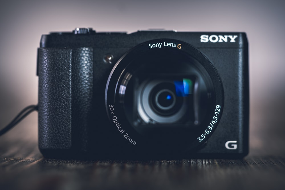 black Sony G point-and-shoot camera