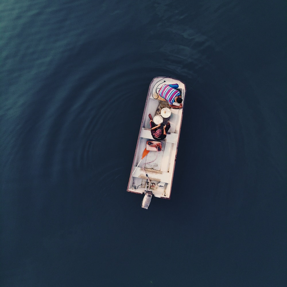 aerial photography of people on motorboat
