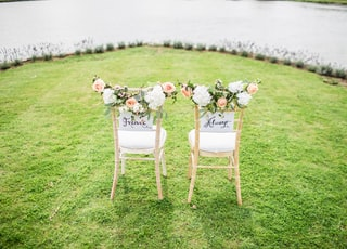 two decorative chairs on grass field near body of water