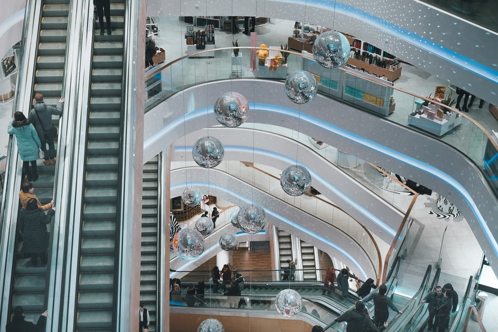 aerial photography of mall interior