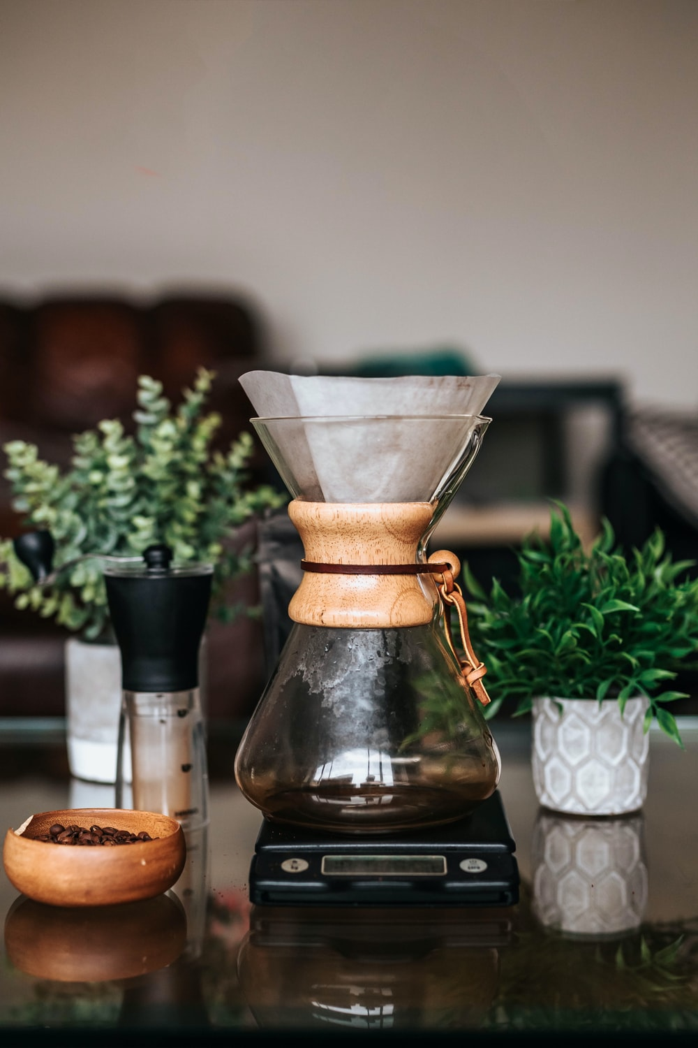 brown and clear glass coffee maker