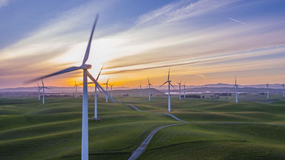 white wind mill lot on green field