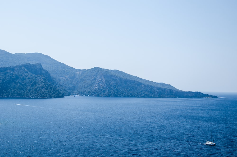 landscape photography of sea and mountains under blue calm sky