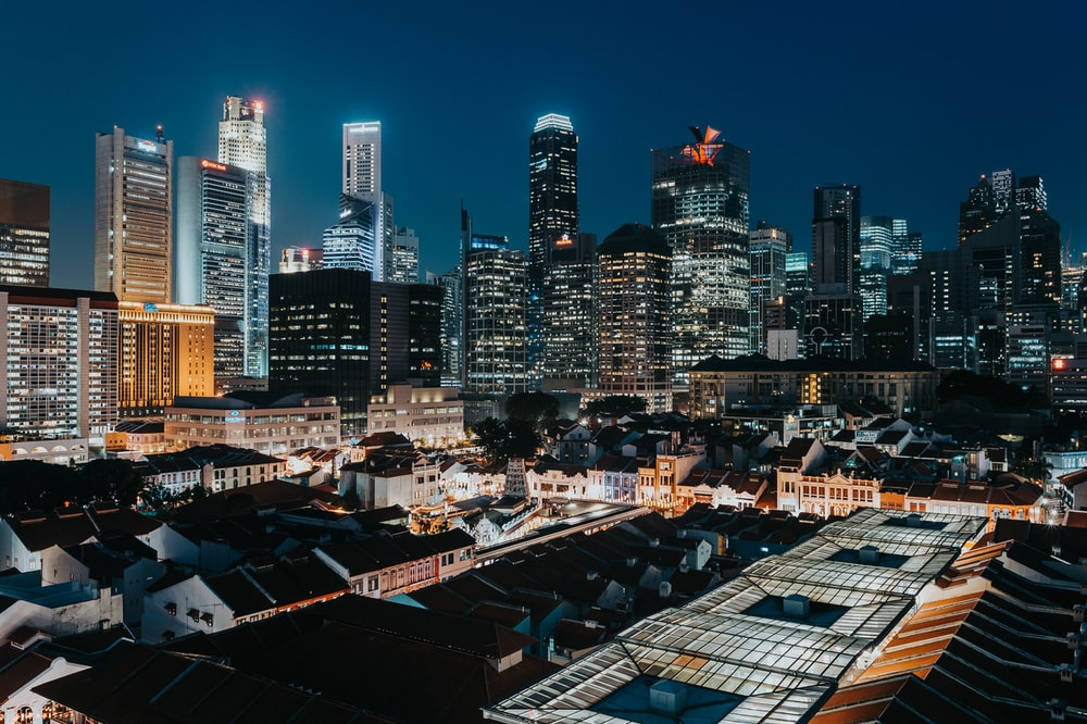 aerial view of city buildings at night time