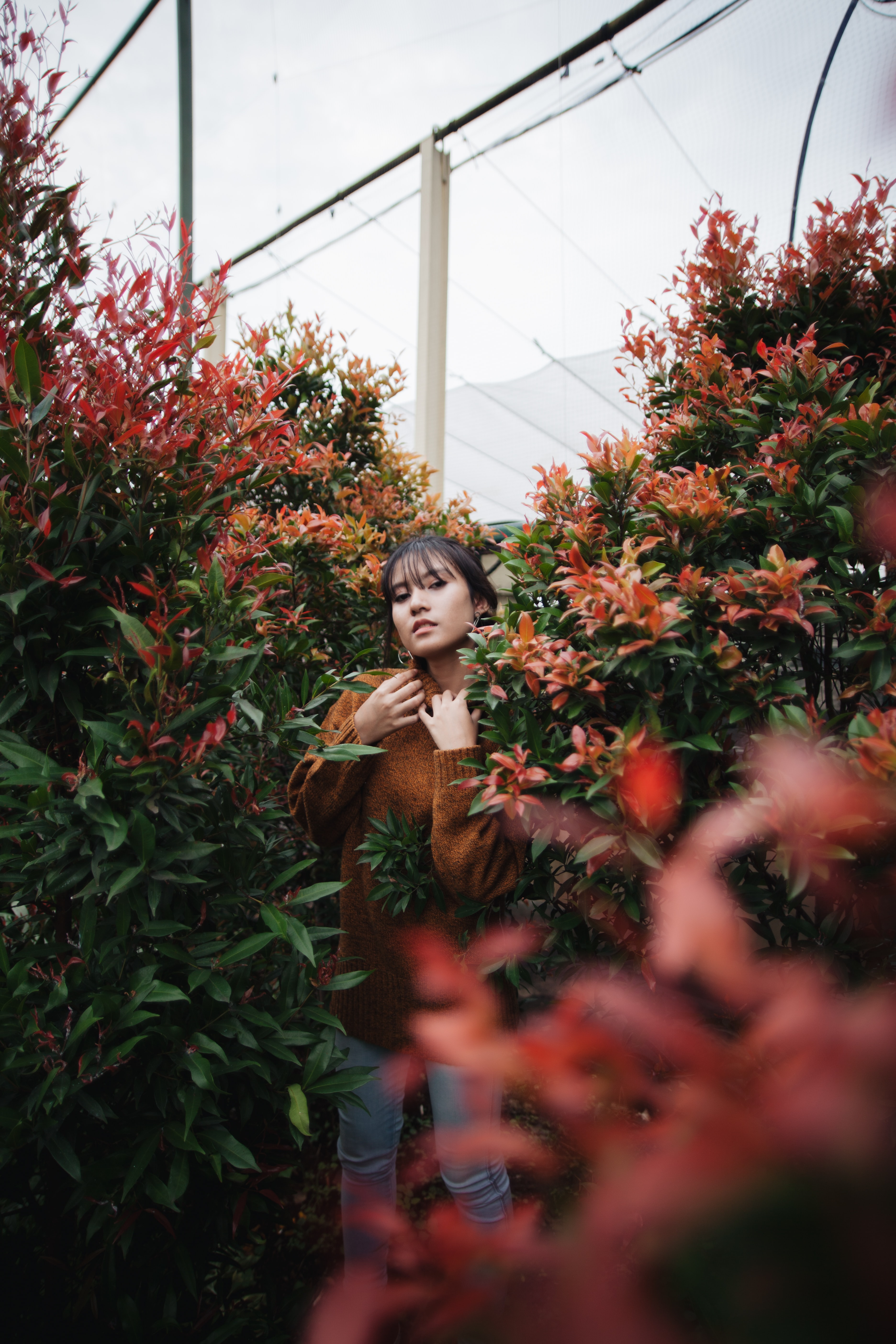 woman beside red flowers during daytime