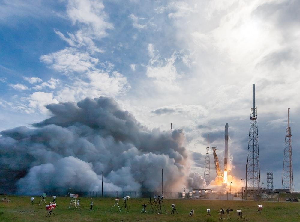 rocket ship going up
