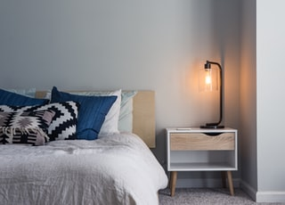 black table lamp on nightstand