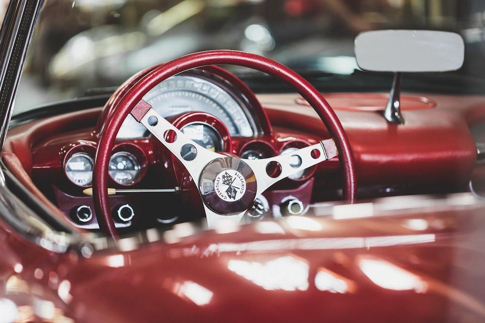 closeup photo vintage vehicle steering wheel
