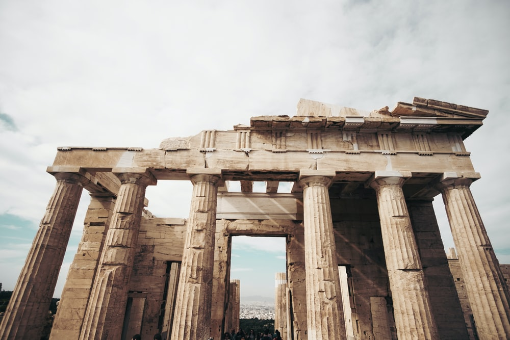 brown Parthenon in worm's view photography