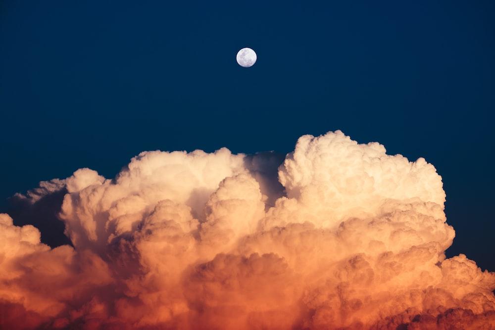nimbus clouds under moon