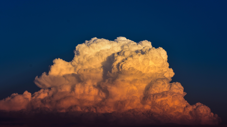 pelean eruption under blue sky