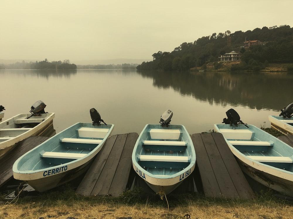 motorboat parking beside water
