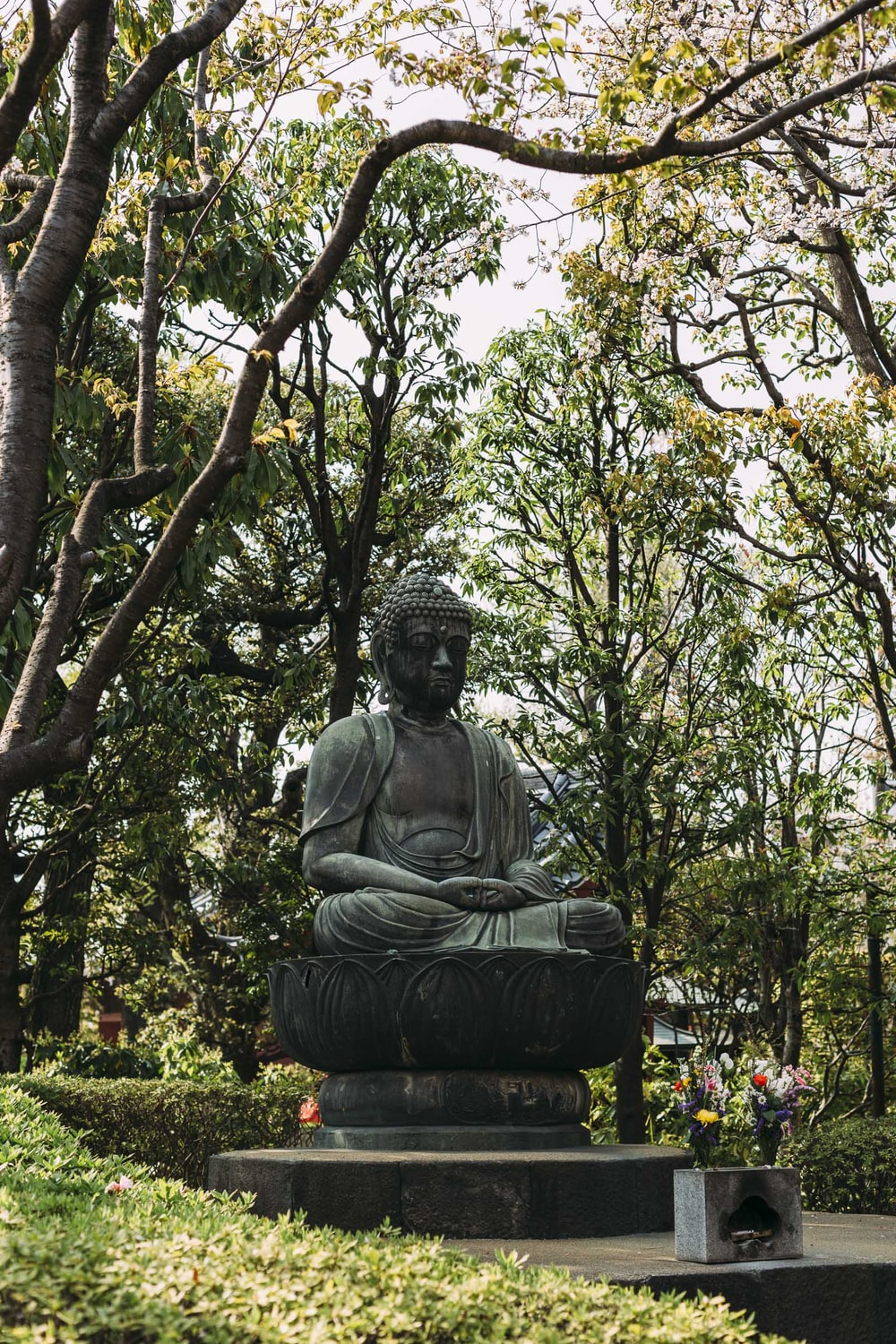 Hotei statue surrounded of t rees