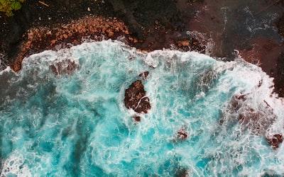 aerial view of seawaves