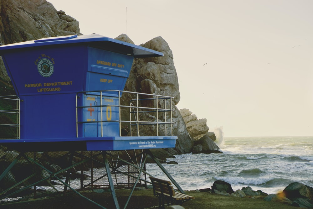 blue lifeguard house