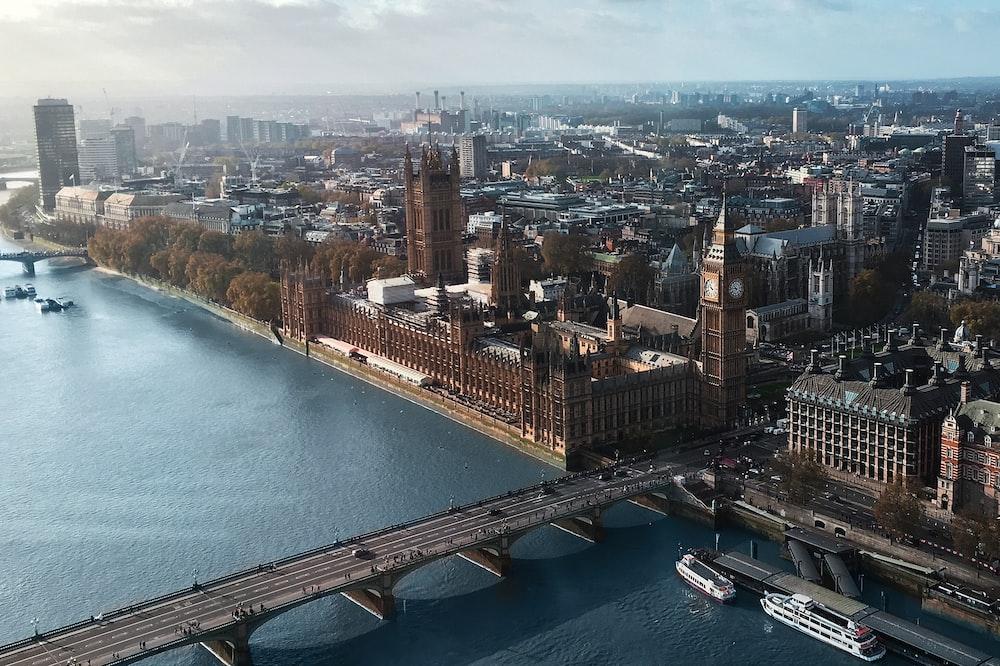 aerial view of Big Ben London