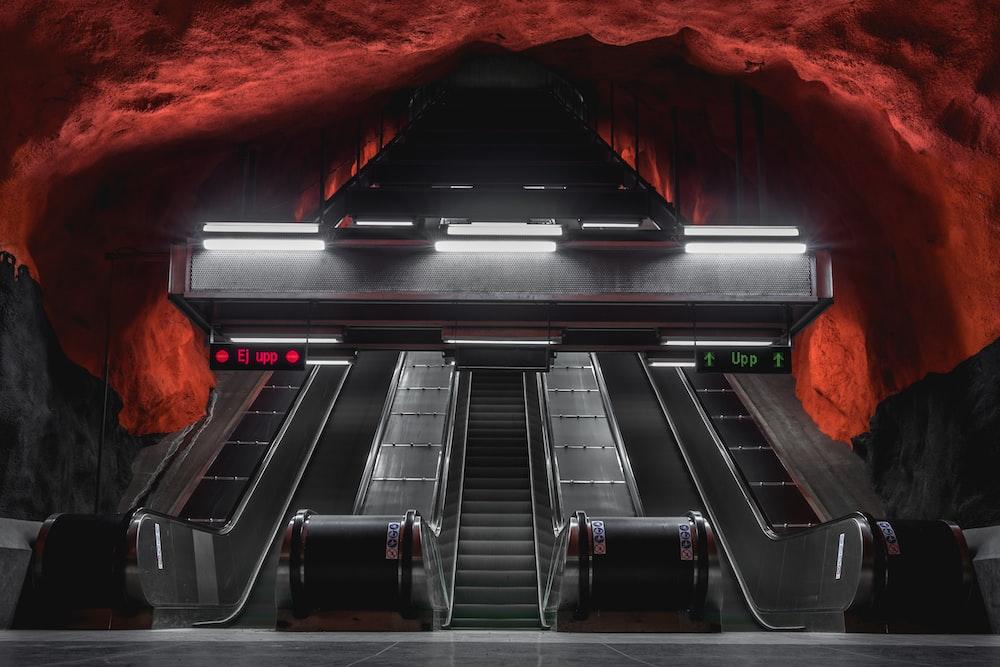 empty gray escalator