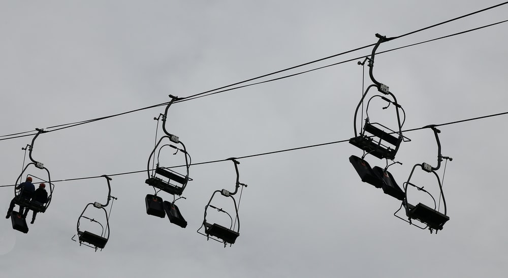 cable car under white sky