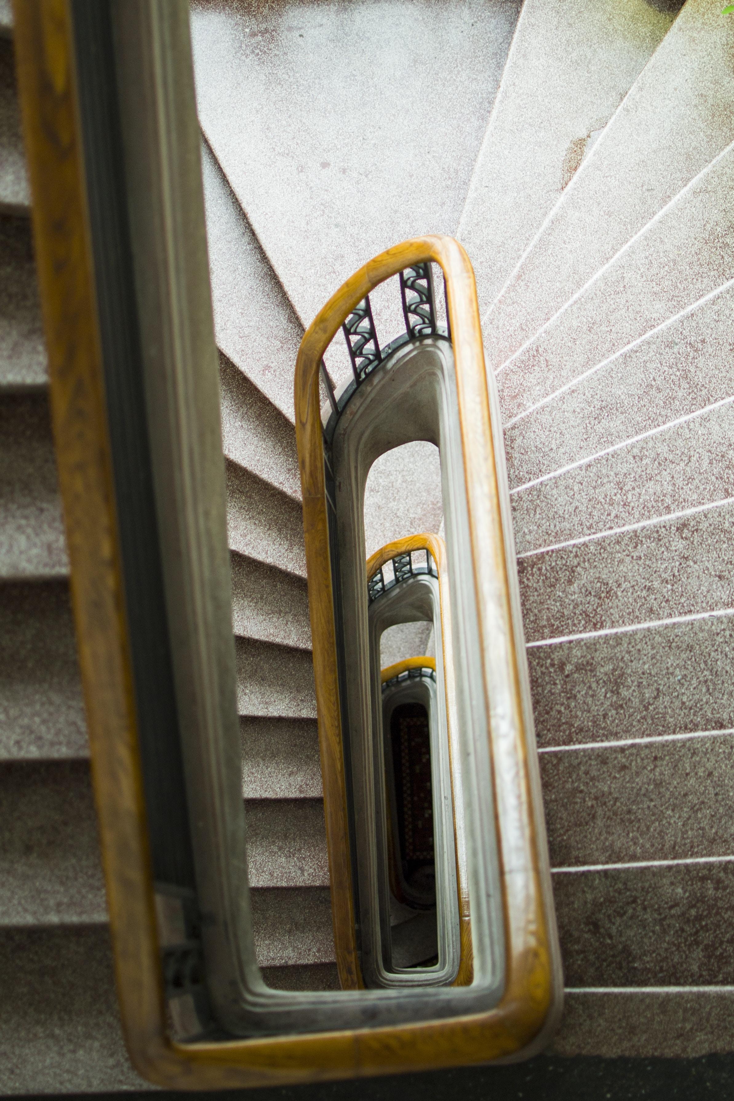 gray concrete spiral staircase