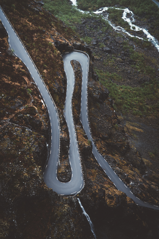 bird's eye photography of empty highway