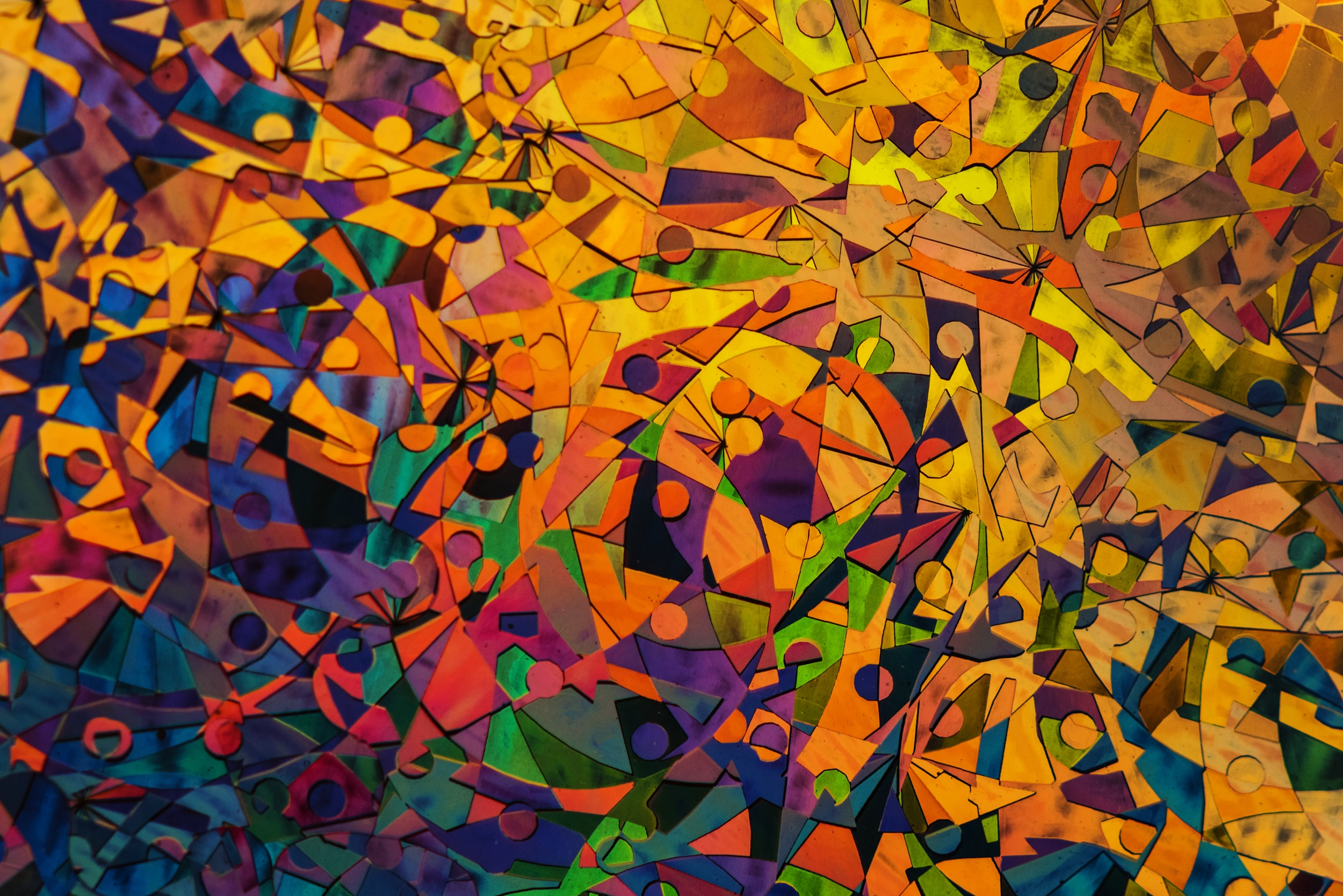 multicolored abstract painting of shapes