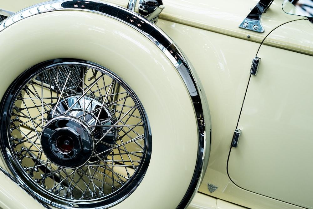 white car showing wheel