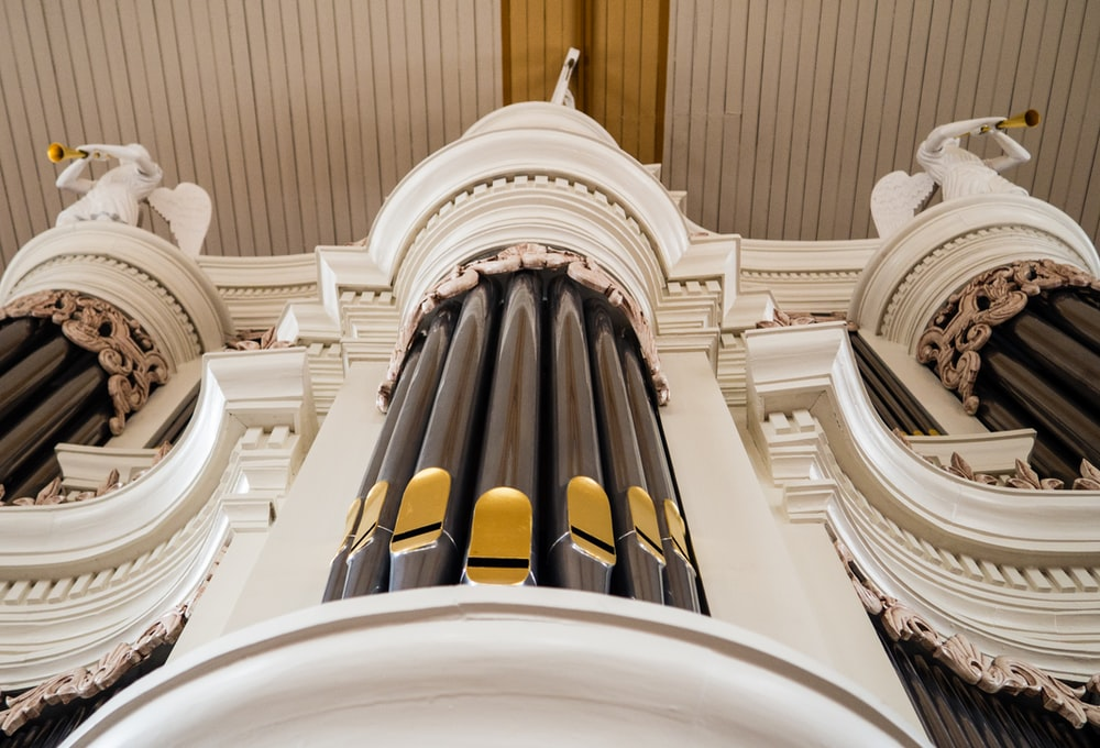 low angle photography of bamboo organ