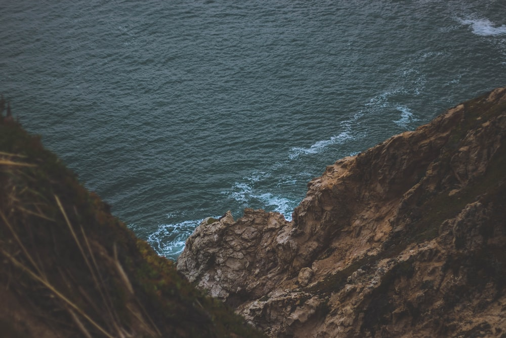 high angle photo of ocean