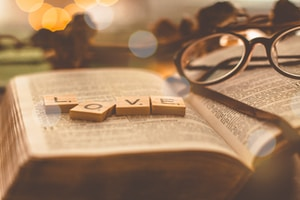 Love scrabble tiles on book page