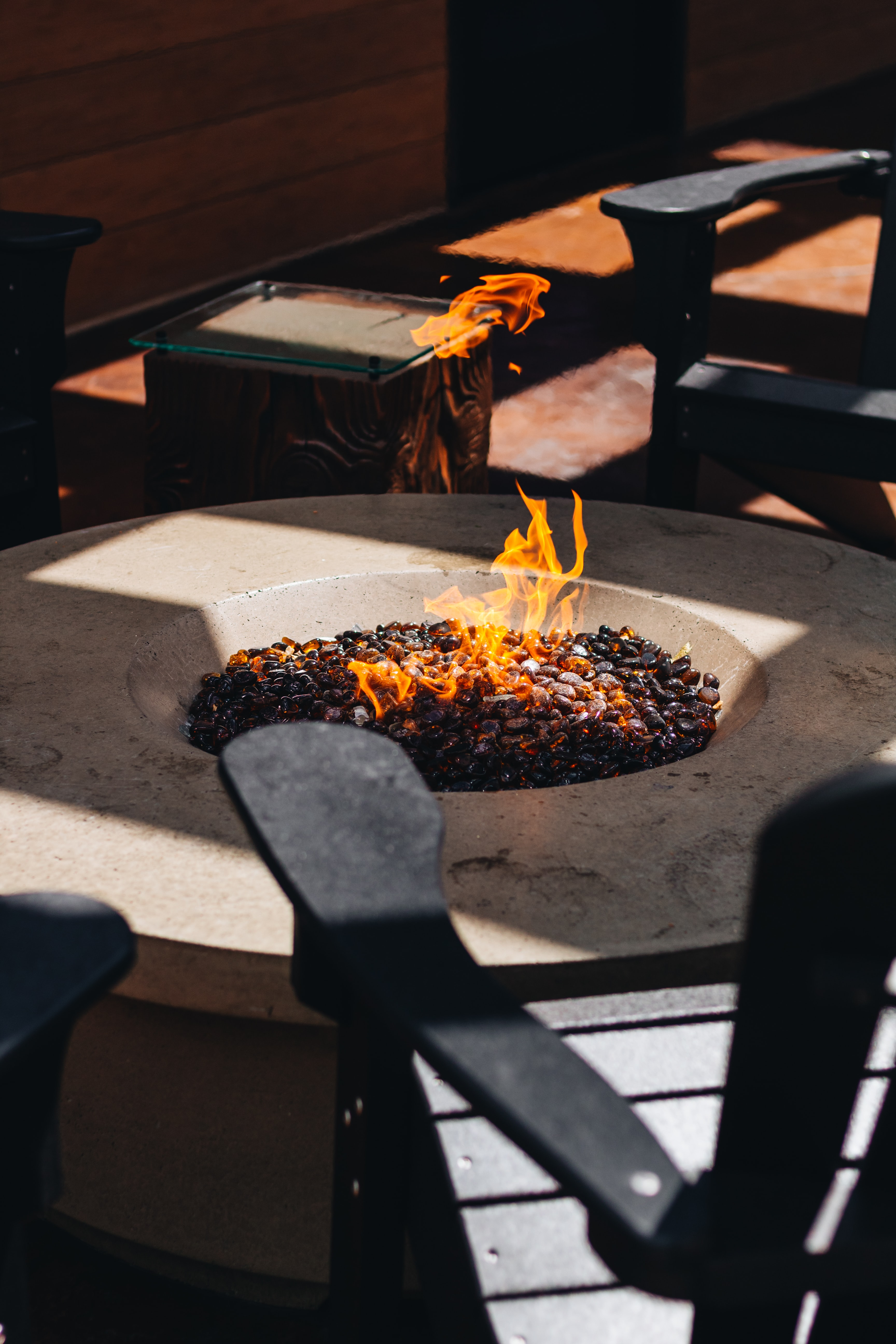 round firepit field with fired charcoal