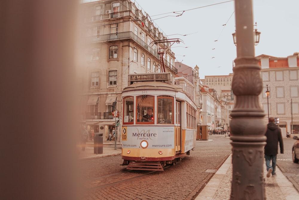 tram between houses